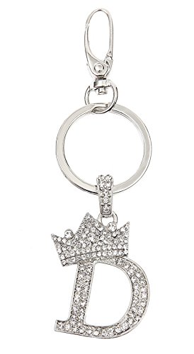 (Sometheme Special Rhinestone Stud Initial Letter Charm Keychain, Key Ring, Bag Charm, Gift Box Included (RHODIUM-D))