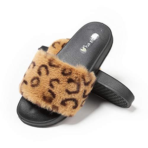 Fur Story Women's Faux Fur Slides Furry Slide Sandal(7, Leopard Faux ()