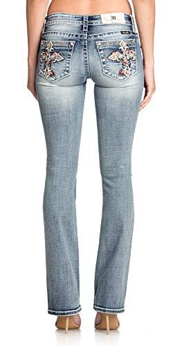 Miss Me Women's Low Rise Chloe Boot Cut Jeans, Medium Blue, 25