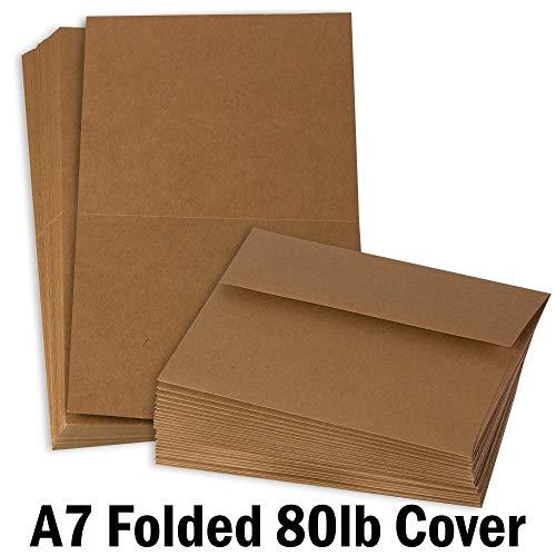 Hamilco Brown Colored Kraft Cardstock Thick Paper - 5 x 7