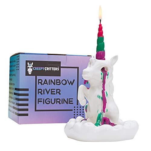 Creepy Critters Rainbow River Sad Crying Unicorn Candle Holder Figurine