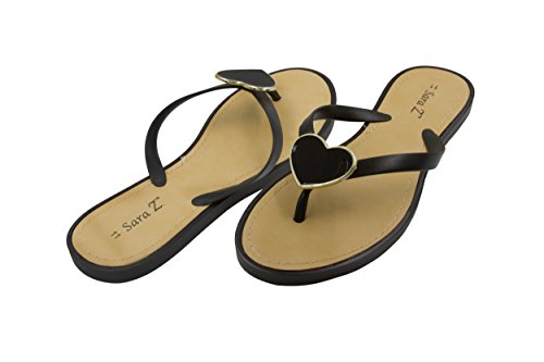 Sara Z Ladies PCU Flip Flop with Enamel Heart Ornament 9/10 Black -