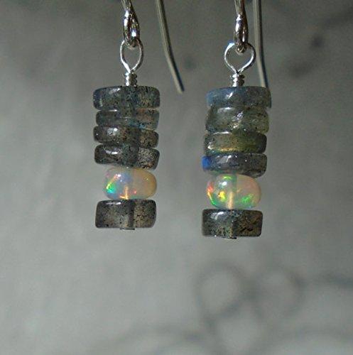 Labradorite Earrings with Opal, Ethiopian Opal Earrings, Opal Earrings, Short Dangling Earrings, Gemstone Earrings, Dainty Earrings 4.5mm