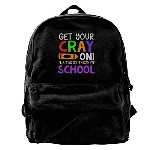 Blcak Backpack Vintage Book Bag Get Your Cray On It's The 100th Day Of School]()