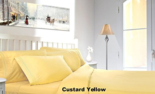 Clara Clark 1800 TC Queen Bed Sheet Set - Custard Yellow