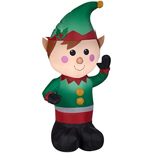 Christmas Inflatable LED Lighted Waving Elf Airblown Decoration By Gemmy ()