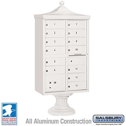 (Salsbury Industries 3313R-WHT-U Regency Decorative CBU with CBU, Pedestal, CBU Top and Pedestal Cover, 13 B Size Doors, Type IV, USPS Access, White)