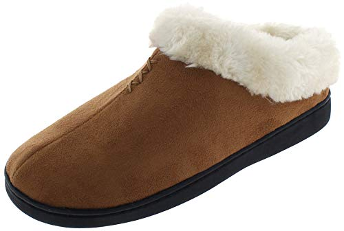 Capelli New York Ladies Indoor Clog with Faux Fur Trim and Lining Chestnut Large