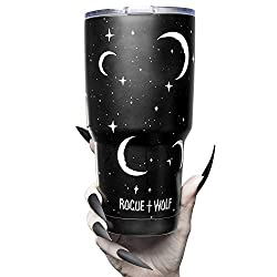 Insulated 30oz Stainless Steel Tumbler with Lid Cute Travel Coffee Mug Hot or Cold Brew Tumblr with Moons and Stars Simple & Modern Tumblers for Women Reusable Thermos for Tea Cocoa Smoothie 850ml