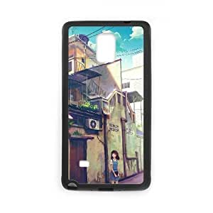 HD exquisite image for Samsung Galaxy Note 4 Cell Phone Case Black schoolgirl on a city street Popular Anime image WUP0714957