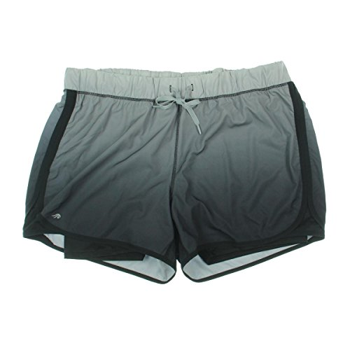 Ideology Womens Plus Running Colorblock Athletic Shorts Gray 3X