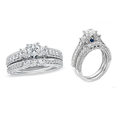 f77fe9600def0 TVS-JEWELS Engagement Bridal Ring Set in 925 Sterling Silver White Platinum  Plated Round CZ