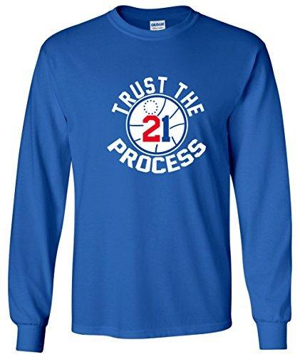 "LONG SLEEVE Blue Philadelphia Embiid ""Trust the Process"" T-Shirt ADULT LARGE"