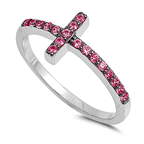 Simulated Ruby Sideways Cross Ring New .925 Sterling Silver Christian Band Size 4