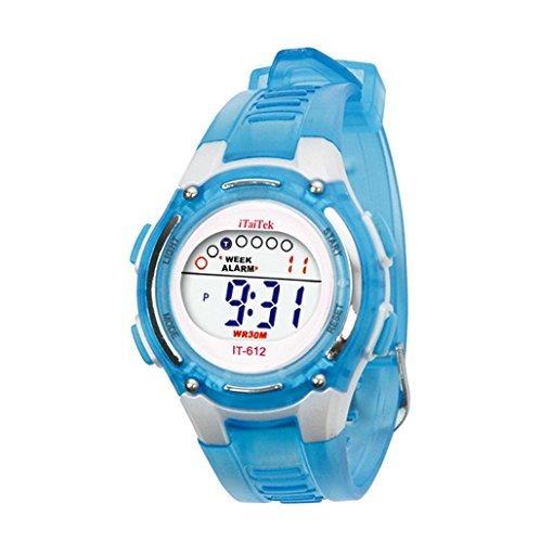 Sannysis® Moda Niños Niñas natación deportes digital impermeable reloj de pulser - azul: Amazon.es: Relojes