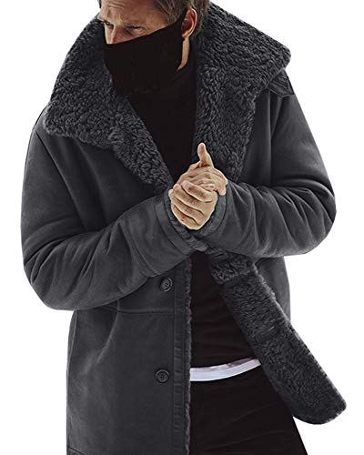 - Mens Faux Leather Winter Coats Suede Shearling Button Jackets Sherpa Lined Windproof Warm Outwear with Pocket