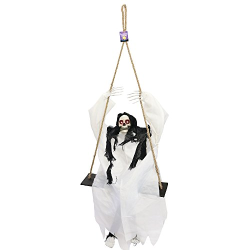 Halloween Haunters Animated 4 Foot Hanging Swinging Skeleton Ghost Reaper with Moving Kicking Legs Prop Decoration - Rope Swing, Scary Laugh Sounds, Flashing Evil Red LED Eyes - Entryway Display -