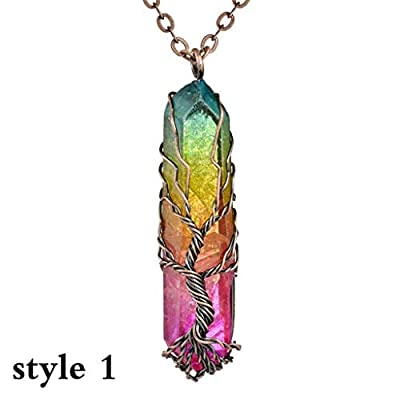 HHoo88 Rainbow Stone Natural Crystal Rock Necklace Gold Plated Quartz Pendant Wire Wrap Irregular Clear Crystal Necklace: Clothing