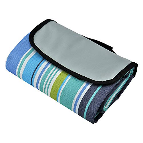 Waterproof Outdoor Picnic Blanket - Sand Proof Beach Mat - Striped Folding Summer Blanket - XL Queen Size 80 x 60 Inches - Fits 4 Adults or 6 Kids - Ideal for Parks | Beaches | Camping | Festivals ()