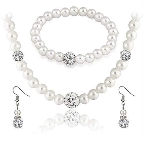 (SEVENSTONE Faux Pearl Crystal Choker Necklace Earring Bracelet Jewelry Set for Women Wedding Bridal)