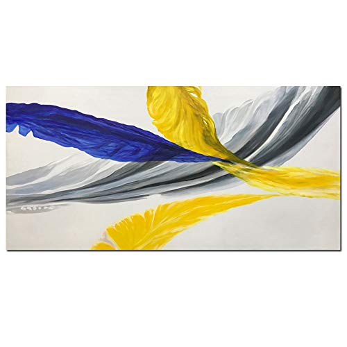 Metuu Oil Paintings, Abstract Feathers Canvas Paintings Modern Home Decor Wall Art for Living Room Wood Inside Framed Ready to Hang 24x48inch
