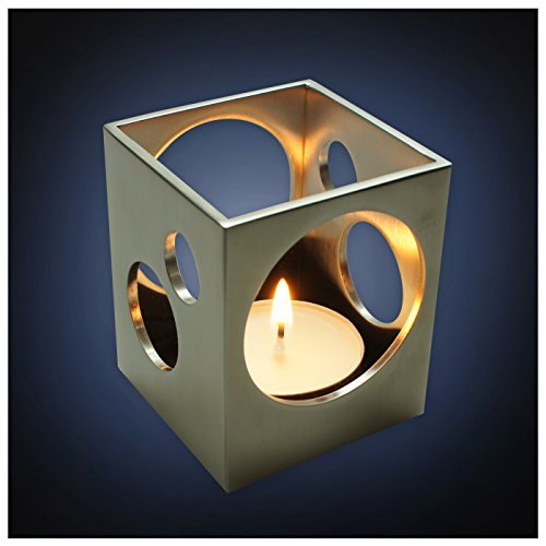 ArtsOnDesk Modern Art Tea Light Holder St213 Stainless Steel Satin Finish Patent Applied for --Candle Holder Stand Case Home Deco Restaurant Bar Aromatherapy Spa Party Wedding Votive Garden Gift Tealight Holder Case