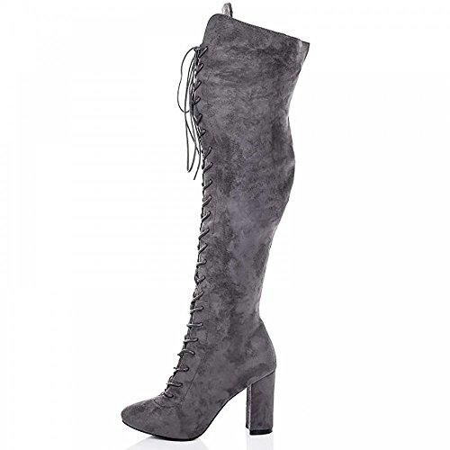 Womens Mesdames Gris Sur Les Genou Simili-Suède Lacets Bottes Talons Chaussures Wr01GJ2WN