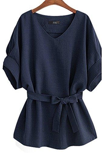 ceinture Femme col Manches top Mode avec V Bleu Casual YOGLY Chic Chemisier courtes Blouse 0paWwddq