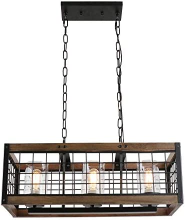 Anmytek Rustic Chandelier Wood Light Fixture
