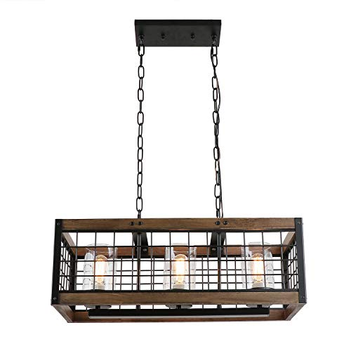 - Anmytek Square Metal and Wood Chandelier Basket Pendant Three Lights Oil Black Finishing Iron Net Lamp Shade Retro Vintage Industrial Rustic Ceiling Lamp Caged Light