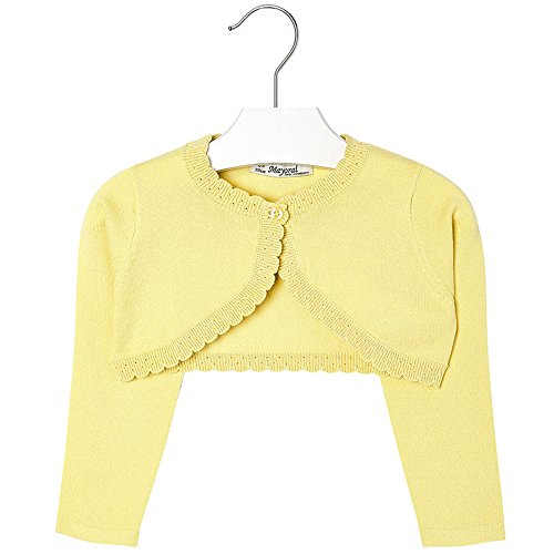 Mayoral Girls 2T-9 Chamomile-Yellow Scallop Edge Knit Shrug Cardigan Sweater, Chamomile,9 by Mayoral