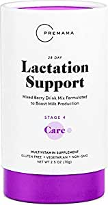 PREMAMA Lactation Supplement Drink Mix - Supports Breast Milk Production and Fortifies Breast Milk With Folic Acid, Vitamin D, and Calcium (28 Packets Mixed Berry Flavor)