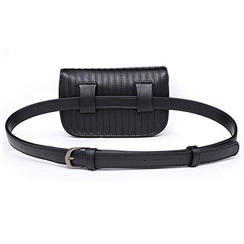 Women Cell PU Leather Travel Meliya Bag Phone Fanny Pack Bumbag Pouch Black Belt Fashion Stripes Waist Bag Retro Stripes Mini 1Yxnxf4q5Z