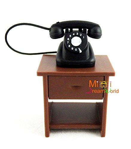 Dolls House 1:24 Scale Miniature Hall Furniture Side Table U0026 Telephone  Magnetic