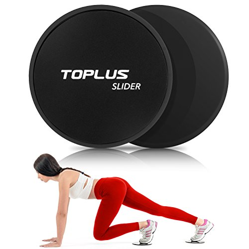 TOPLUS Gliding Discs Core Sliders, Abdominal Exercise Equipment, Dual Sided for Carpet or Hard Floors (Black)
