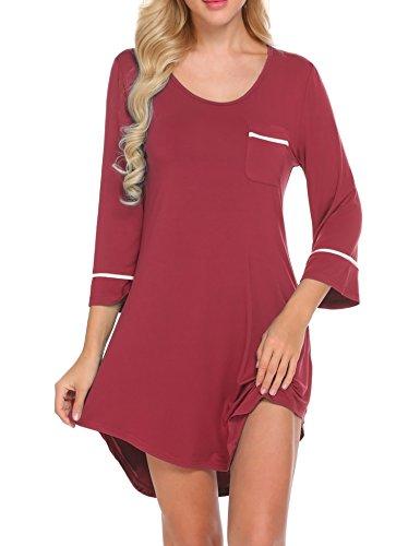 Ekouaer Women's Nightgown Cotton Sleep Shirt Scoopneck 3/4 Sleeve Sleepwear,Wine Red,Small ()