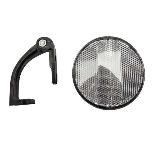 White Bicycle Reflector with Bracket Sunlite Round Front