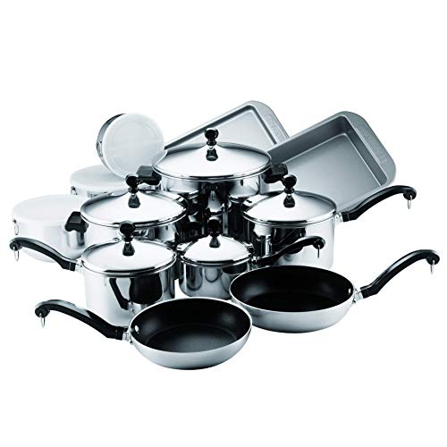 Farberware Classic Stainless Steel 17-Piece Cookware Set (Renewed)