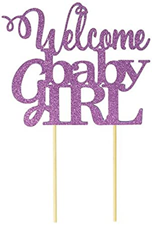 amazon all about details purple welcome baby girl topper 並行輸入