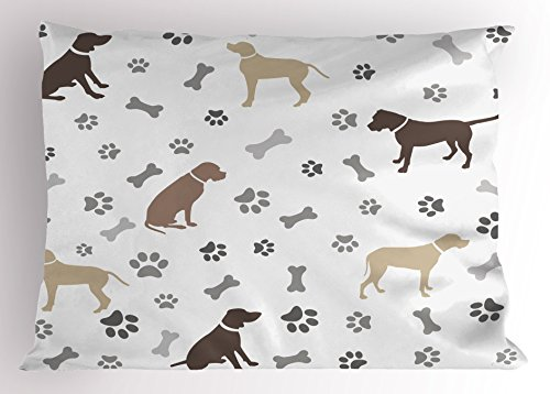 - Ambesonne Dog Lover Pillow Sham, Paw Print Bones and Dog Silhouettes American Foxhound Breed Playful Pattern, Decorative Standard Queen Size Printed Pillowcase, 30 X 20 Inches, Umber Beige Grey