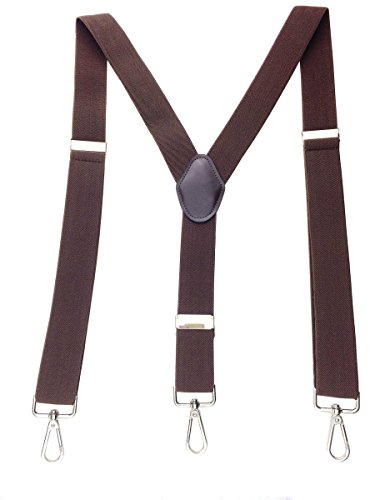 Romanlin Suspenders for Men with Hooks 3 Adjustable Clips Heavy Duty Big and Tall Belt Loops Suspenders Braces (Coffee), Medium