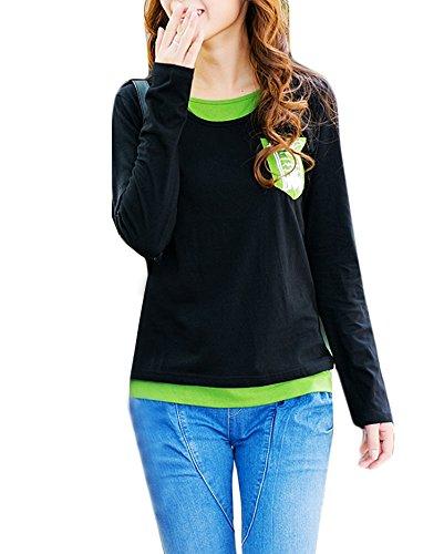 T-Shirt Damen Blusen Oberteil Hemd Grundiert Baumwolle Rundkragen Langarm Große Größen Lose Vordere Brusttaschen Tops