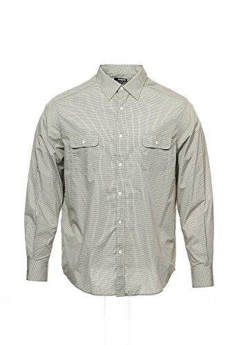 Claiborne Men's Woven Long Sleeve Shirt Khaki with Black Check XXL