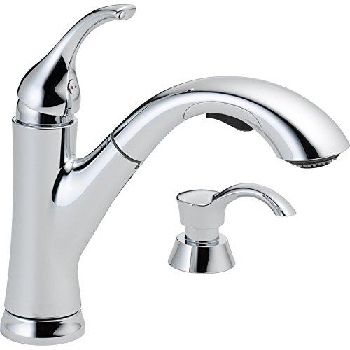 Delta Kessler Chrome 1-handle Pull-out Deck Mount Kitchen Faucet Model # 16932-SD-DST - Handle Deck Mount Bar