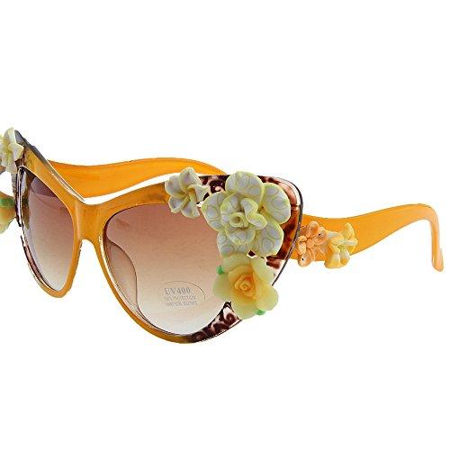 Summer Beach para Gafas Style Sol Vacaciones KOMEISHO Brillantes Handmade Tonos diseñador Eyes UV Gafas Novedad Protección Sol Lady'S de Flower de Graceful Cat RqzpYv