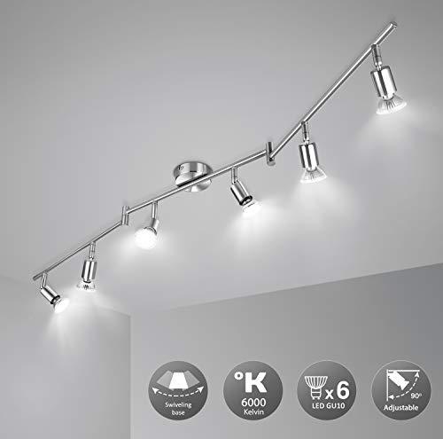 41fz19y8sgL 🌞Diseño Moderno: Esta lámpara de techo salón es fabricado con efecto de níquel mate, bien acabado. Es ajustable que conviene por su versatilidad y baja generacion de calor. Destaca por su elegancia, delicada, resistencia y antioxidante. Perfecto para techo e interiores. 🌞Montaje Fácil: La lámpara techo focos LED se pueden reemplazar por GU10 (menos de 50W). No solo ofrece una iluminación LED de fácil montaje con transformador incluido, sino que estos focos de 230V se pueden utilizar en habitaciones, dormitorios, cocinas, pasillos, etc. Ojo: Instalar el soporte con un destornillador en la pared & techo, conectar la lámpara al soporte sin hacer agujero. 🌞Pivotante: wowatt lámpara foco de 6W son orientables y ajustables a propia preferencia. Longitud total de la luz del techo: 120 cm. Amplitud de la varilla: 1,2 cm. Dimensiones de la base: 8 x 8cm. Sumergen cada habitación con una iluminación adecuada gracias a sus cabezales giratorios. Ofrecen una larga vida útil de mas de 30000h de luz blanca fría.