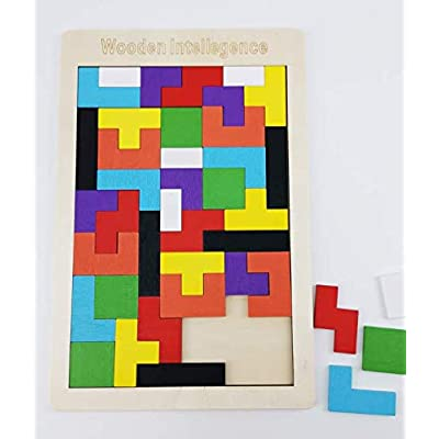 BEARSTAR Brain Tetris Block, Early Education 40-PCS Colorful Wooden Tangram Jigsaw Puzzles Intelligence Puzzle for Preschool Children Kids (A): Toys & Games