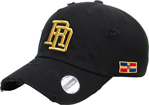 Adjustable Vintage Cap Dominican Republic   Rd  Black   Gold