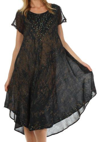 Sakkas 715D Michiko Stonewashed Caftan Dress / Cover Up - Black - One Size