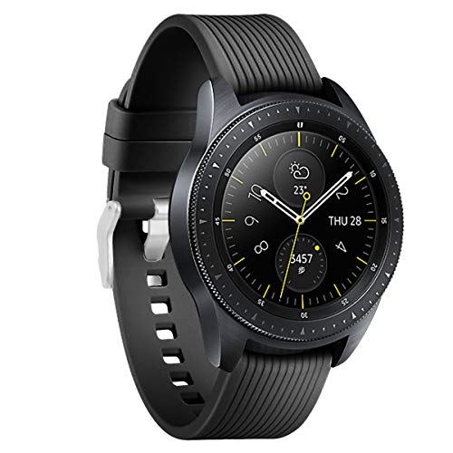 Aimtel Compatible Samsung Galaxy Watch (42mm) Bands, 20mm Soft Silicone Sport Band Replacement Strap with Pin Compatible Samsung Galaxy 42mm Watch(Black)